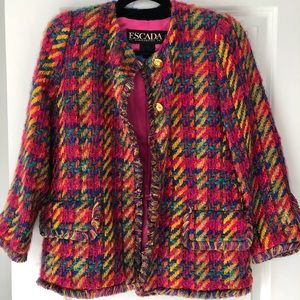 ESCADA Vintage Pink Rainbow Tweed Blazer